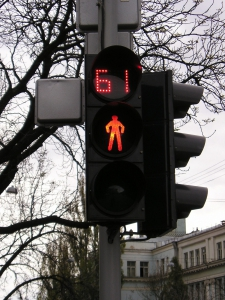 The first pedestrian traffic light with countdown
