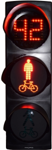 Pedestrian/bicycle signal light with countdown unit